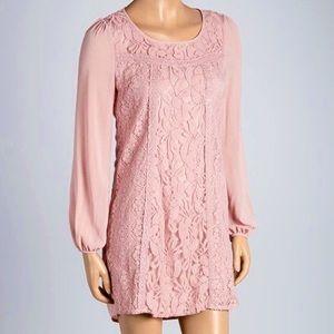 Flying Tomato Dusty Mauve Pink Lace Shift Dress E